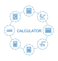 8 calculator icons vector image
