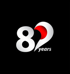 80 years anniversary celebration white and red vector