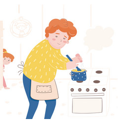 a father preparing a meal vector image