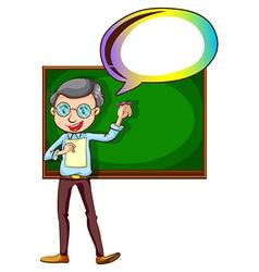 A teacher with an empty callout vector