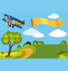 airplane with advertisement flag over the park vector image