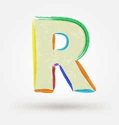 Alphabet letter R Watercolor paint design element vector image