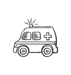 Ambulance doodle drawing vector