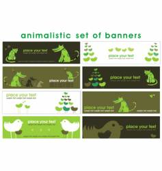 animalistic set of stylish banners vector image