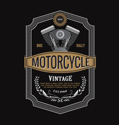 antique label design motorcycle engine banner vector image