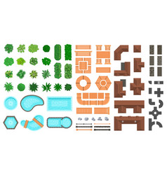 Architectural landscape items outdoor city top vector