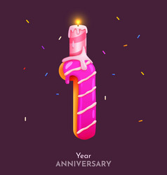 birthday cake font number 1 with candle one year vector image