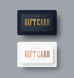 Black and white gift card design with gold text vector