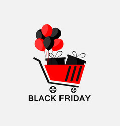 black friday trolley with gifts and balloons vector image