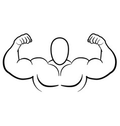 Bodybuilder muscle flex arms vector