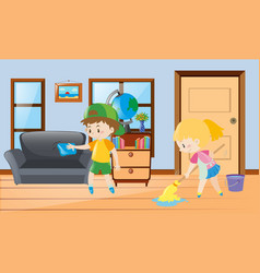 Boy and girl cleaning the house vector