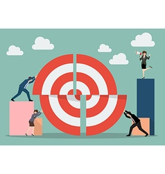 Business teamwork pushing a pieces of big target vector