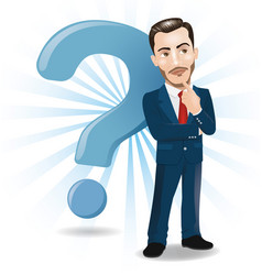 businessman thinking with big question mark vector image