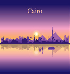 Cairo city silhouette on sunset background vector
