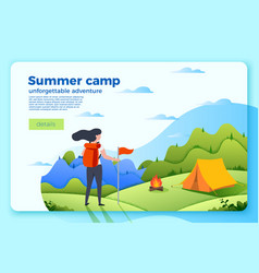 Camping banner template with tourist girl vector
