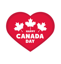 canada day patriotic celebration heart and maple vector image