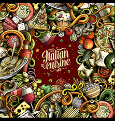 cartoon doodles italian food frame vector image