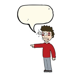 Cartoon man with popping out eyes with speech vector