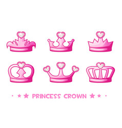 Cartoon pink crown de princess set icons cute vector