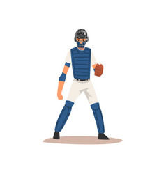 catcher baseball player character in uniform and vector image