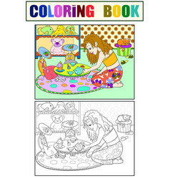 children coloring girl in childrens room vector image