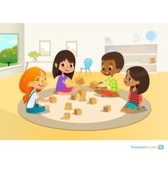 Children sit in circle on round carpet in vector