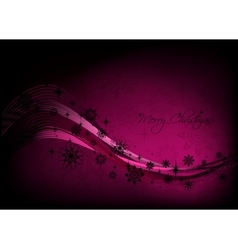 Christmas pink background with black snowflakes vector image