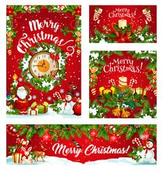 Christmas winter holiday santa and gifts vector