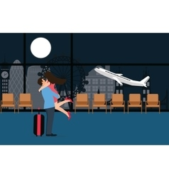 Couple meet at airport landing take off departure vector