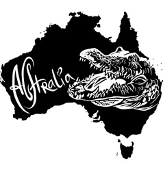 Crocodile on map of Australia vector image