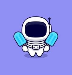 Cute astronaut with blue ice cream cartoon icon vector