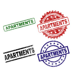 Damaged textured apartments seal stamps vector
