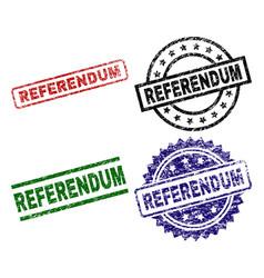 Damaged textured referendum seal stamps vector