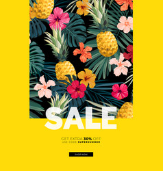 Dark summer design with exotic palm leaves vector
