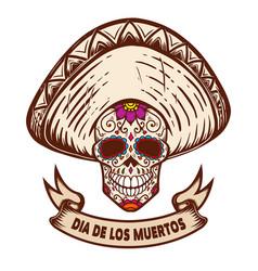 dia de los muertos mexican sugar skull in vector image