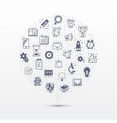 doodle icons - startup concept speech bubble vector image