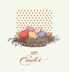 easter eggs greeting card colorful eggs vector image