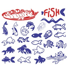 Fish drawings and icons vector image