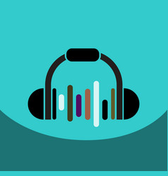 Flat icon design collection music headphones vector