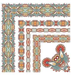 Floral vintage frame design set all components vector