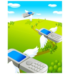 Flying cell phones vector