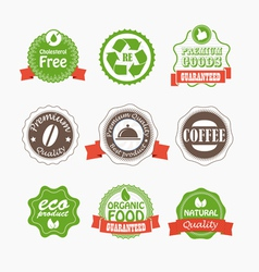 Food quality labels collection vector