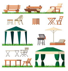 Garden furniture tent table chair seat on vector