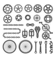Gears chains wheels and other different parts of vector