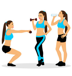 Girl with dumbbells girl is drinking water vector