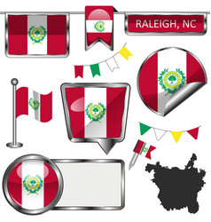 glossy icons with flag raleigh nc vector image