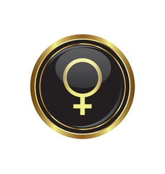 Gold button with female symbol vector