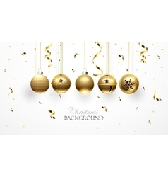 Golden Christmas balls and confetti vector