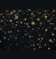 golden snowfall christmas background new year and vector image
