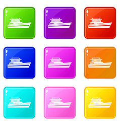 Great powerboat icons 9 set vector